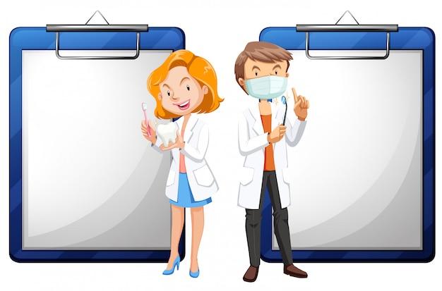 Deux dentistes et livres blancs