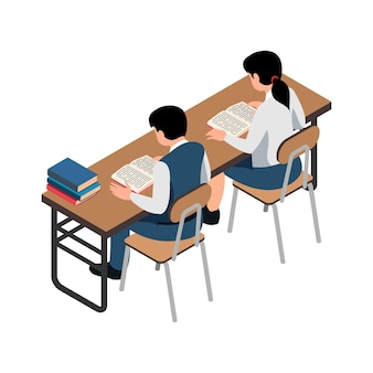 Deux écoliers lisant un livre au bureau illustration isométrique sur blanc