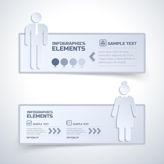Deux éléments infographiques isolés avec des options au travail des opinions des femmes et des hommes