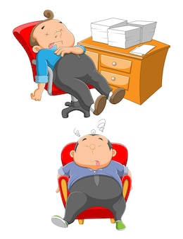 Deux employé endormi dort sur la chaise près du bureau de l'illustration