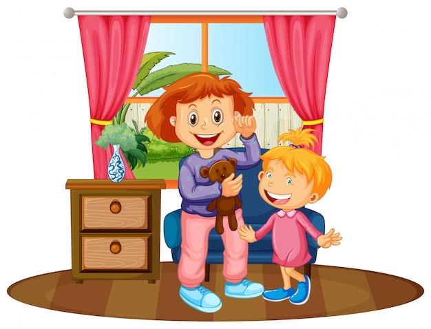 Deux enfants dans la maison