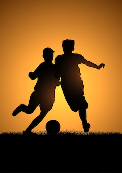 Deux enfants, jouer, football, silhouette