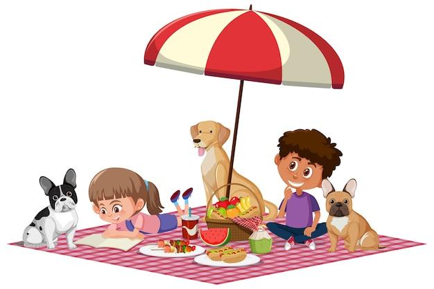 Deux enfants avec leurs chiens dans le thème du pique-nique sur blanc