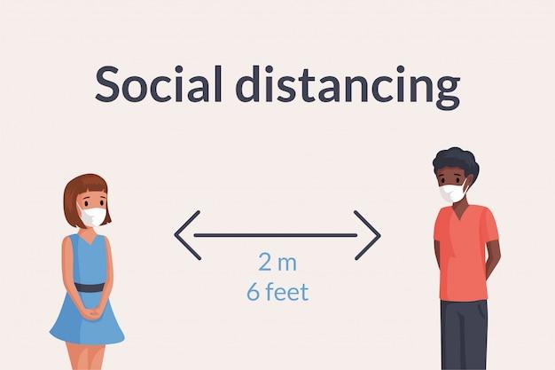 Deux enfants masqués gardent une distance sociale sûre dans l'illustration publique.