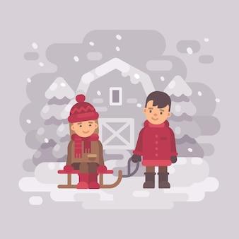 Deux enfants mignons sur un traîneau à la campagne
