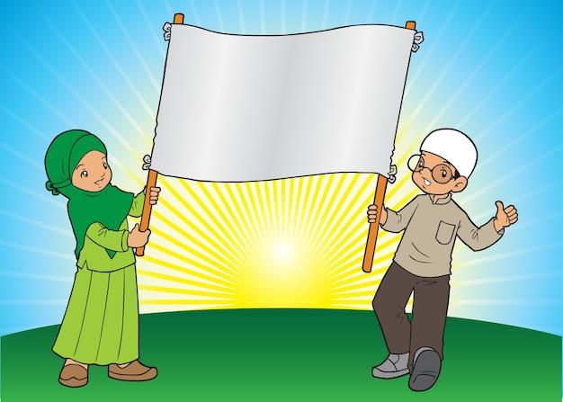 Deux enfants musulmans tenant une bannière