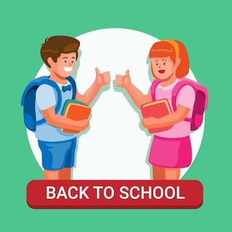 Deux enfants prêts à aller à l'école retour à l'école symbole éducation illustration vecteur