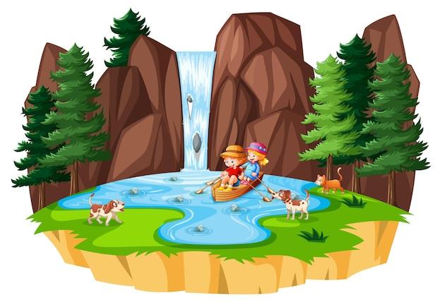 Deux enfants rament le bateau à la chute d'eau avec leur animal de compagnie sur fond blanc