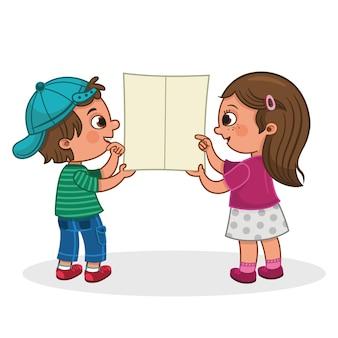 Deux enfants à la recherche d'un dépliant vide pour une utilisation générale vector illustration