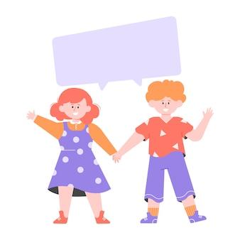 Deux enfants se tiennent à proximité. garçon et fille se tiennent la main. bulle vide pour le texte. illustration plate.