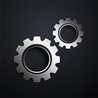 Deux engrenages métalliques fixant le fond