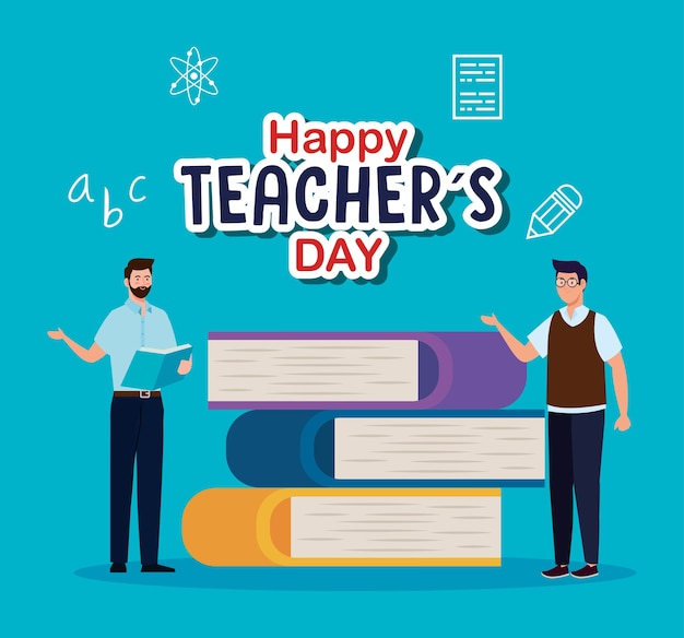 Deux enseignants hommes avec la conception de livres, la célébration de la journée des enseignants heureux et le thème de l'éducation