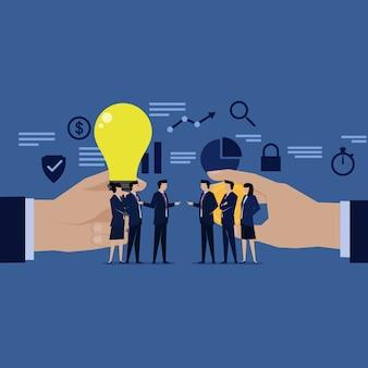 Deux équipe d'homme d'affaires négocier vendre acheter de l'argent des idées.