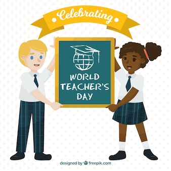 Deux étudiants célèbrent la journée mondiale des enseignants