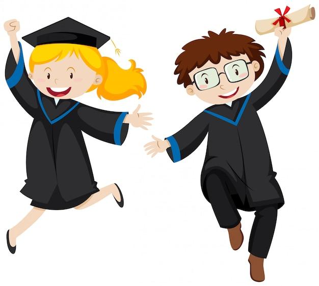 Deux étudiants diplômés sautant