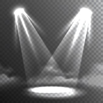 Deux faisceaux de lumières blanches rencontrent la bannière