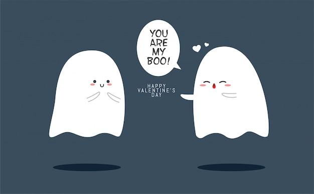 Deux fantômes mignons à la saint-valentin