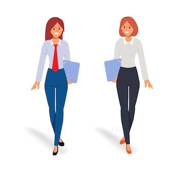 Deux, femme affaires, dans, équipe