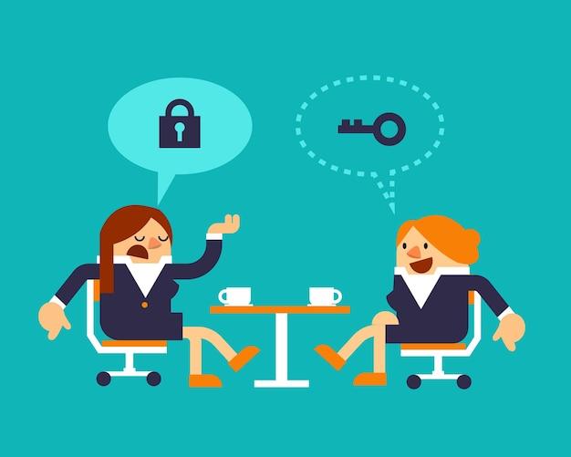 Deux femmes d'affaires discutant de la stratégie de solution