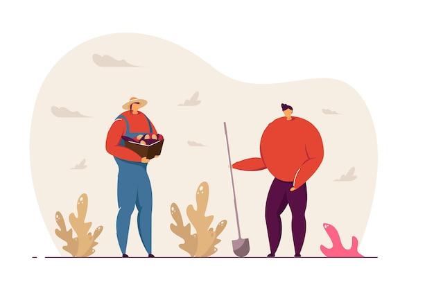 Deux femmes faisant du jardinage illustration vectorielle. des jardinières au travail, creusant avec une bêche, récoltant et stockant des légumes. concept d'activité de plein air pour la conception de sites web ou la page de destination.