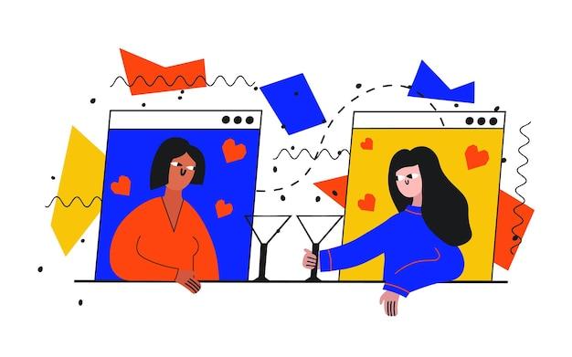 Deux femmes à un rendez-vous en ligne