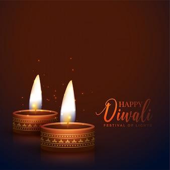Deux festivals de lampes diwali diya réalistes