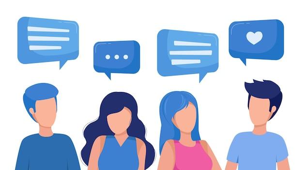 Deux filles et deux gars parlent avec animation