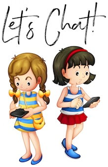Deux filles discutent au téléphone