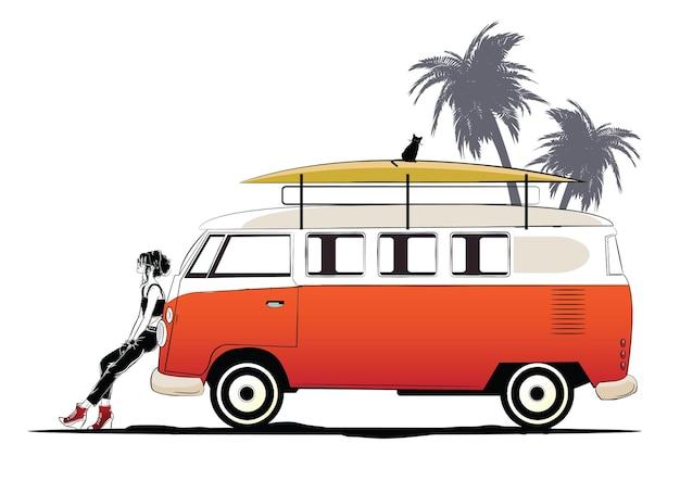 Deux filles élégantes et un bus orange sur la plage.