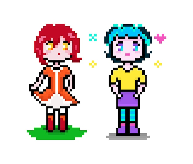 Deux filles mignonnes de pixel d'anime rouge et bleu