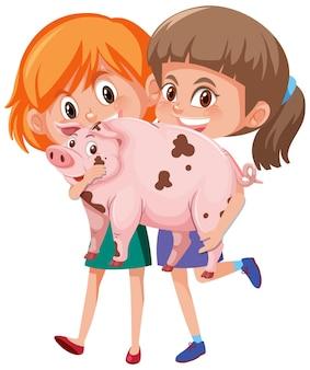Deux filles tenant dessin animé animal mignon