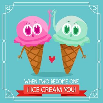Deux fond de glace avec citation amoureuse