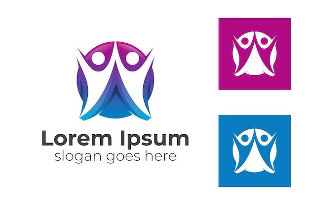 Deux formes humaines avec l'icône de cercle ensemble les gens de la communauté s'occupent, l'unité, le modèle de logo de famille