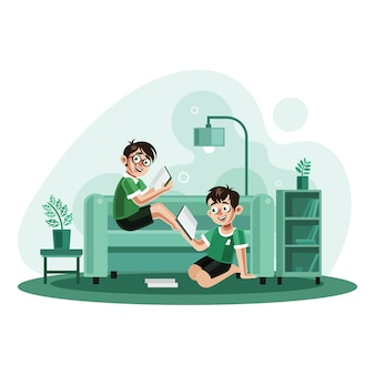 Deux frères lisant des livres à la maison