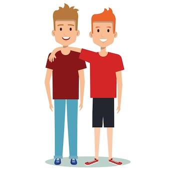 Deux garçons, étreindre, meilleurs amis, heureux, sourire