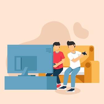 Deux garçons jouent à des jeux vidéo sur la console de jeux