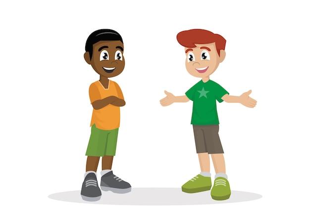 Deux garçons qui parlent.