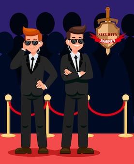 Deux gardes du corps sur des personnages de dessins animés de tapis rouge