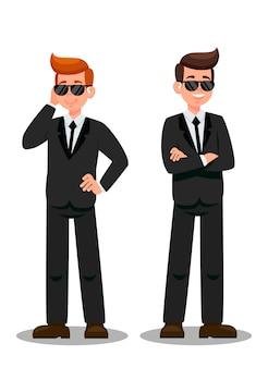 Deux gardes du corps sur des personnages de dessins animés