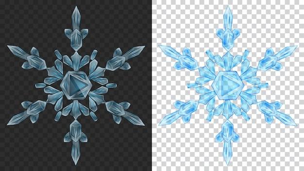 Deux gros flocons de neige de noël transparents complexes dans des couleurs bleu clair pour une utilisation sur fond sombre et clair