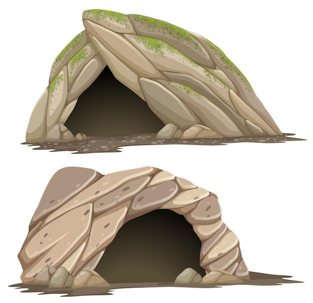 Deux grottes différentes sur fond blanc
