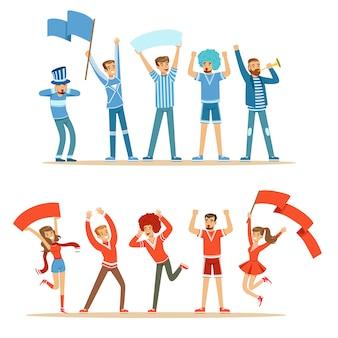 Deux groupes de fans de sports de football soutenant des équipes en tenues rouges et bleues criant et applaudissant au stade