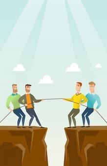 Deux groupes de gens d'affaires tirer la corde.