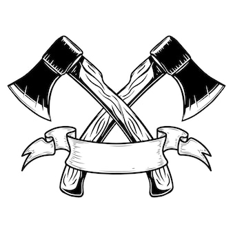 Deux haches croisées avec ruban. élément de design pour logo, étiquette, signe, affiche, carte, bannière. illustration vectorielle