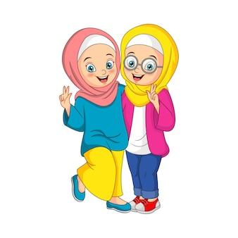 Deux heureux dessin animé fille musulmane