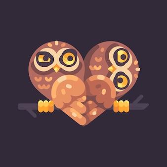 Deux hiboux rigolos sur une branche en forme de coeur. illustration plat de valentin.