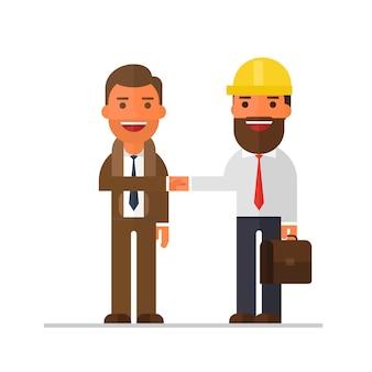 Deux, homme affaires, conversation, et, serre main