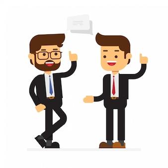 Deux, homme affaires, discuter, stratégie affaires