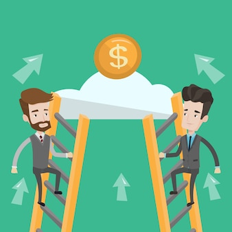 Deux homme d'affaires grimpant vers le succès.