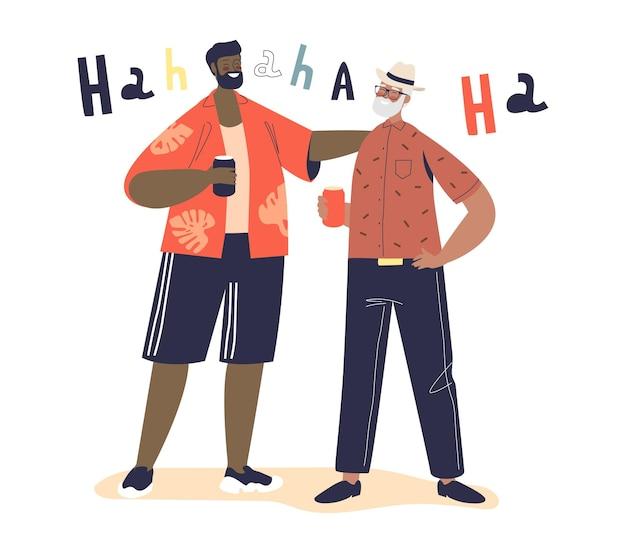Deux hommes adultes éclatent de rire. des amis masculins communiquent en racontant des blagues et boivent de la bière ensemble, s'amusent à rire et à applaudir. illustration vectorielle plane de dessin animé